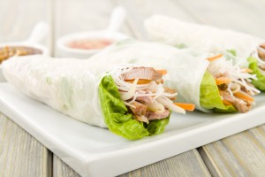 Goi Cuon - Vietnamese fresh spring rolls with pork.